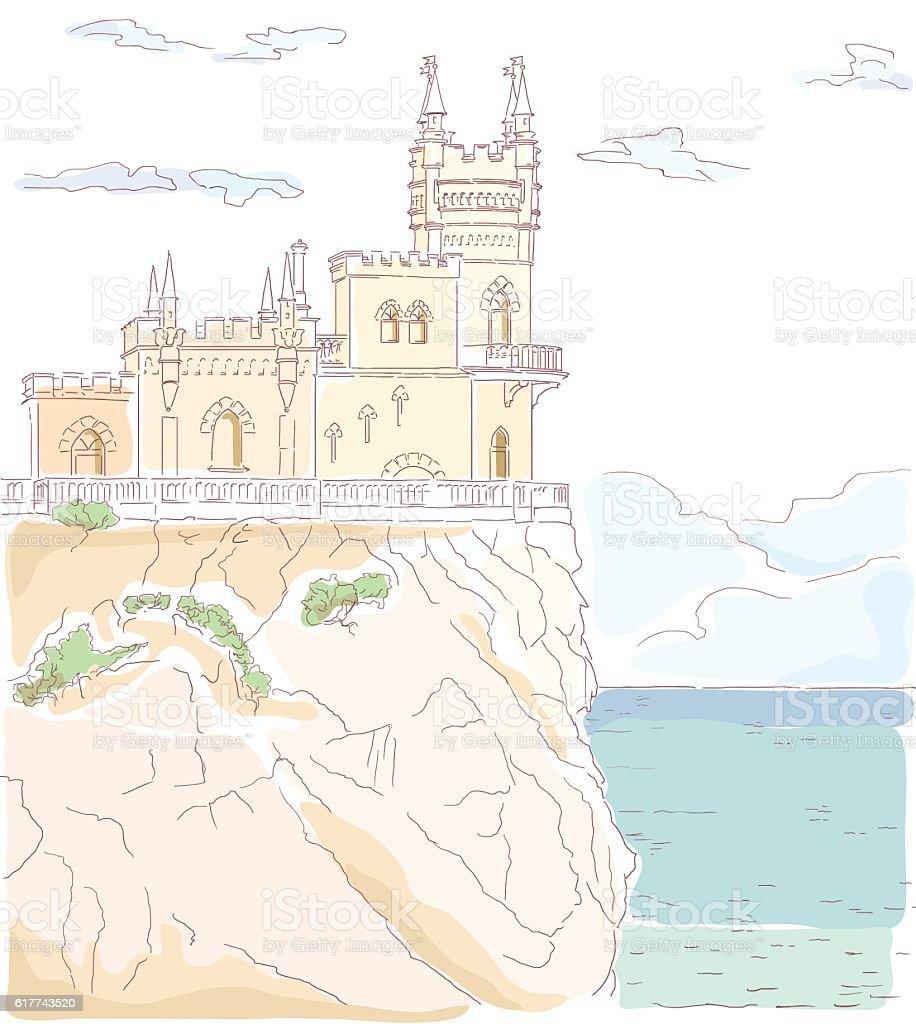 Castello In Stile Retrò Scogliera Sul Mare Immagini Vettoriali