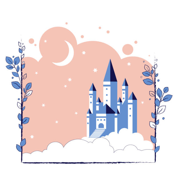 Castle in the clouds Castle in the moonlight in the clouds. Vector illustration for children fairy tales book. fairy tale stock illustrations