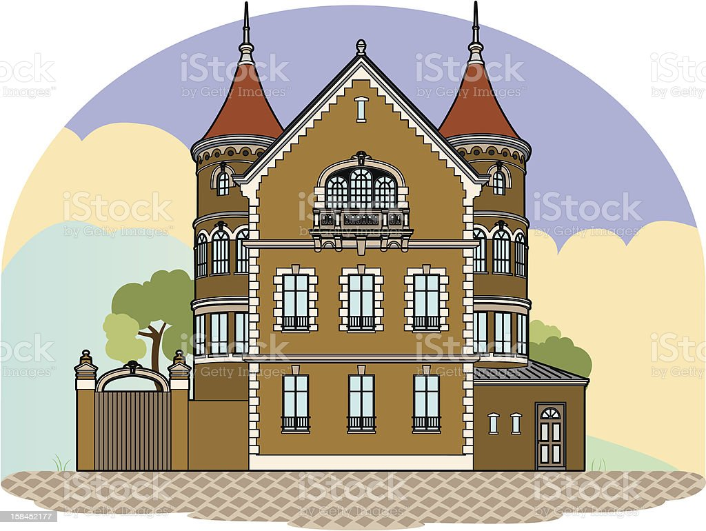Castle in the landscape royalty-free stock vector art