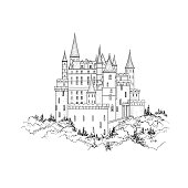istock Castle landmark view. Medieval palace building with tower 680729836