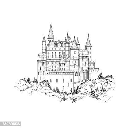 Castle landmark landscape sketch. Medieval palace building with tower