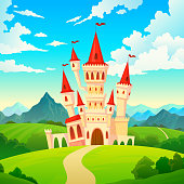 istock Castle landscape. Palace fairytale kingdom magical towers medieval mansion castles hill forest green mountain cartoon vector creative 1141522220