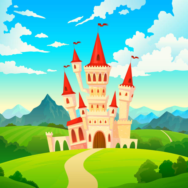 Castle landscape. Palace fairytale kingdom magical towers medieval mansion castles hill forest green mountain cartoon vector creative Castle landscape. Palace fairytale kingdom magical towers medieval mansion castles hill forest green mountain fantasy cartoon vector creative castle stock illustrations