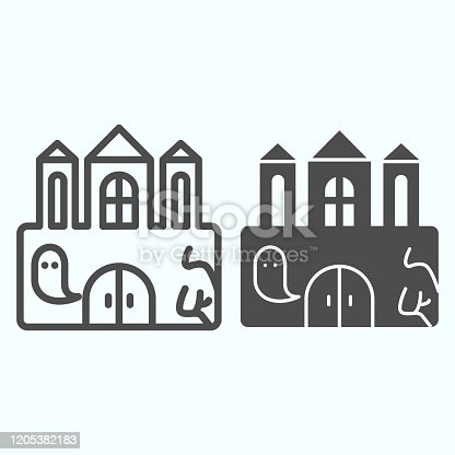 istock Castle line and solid icon. Big magic tower with door and ghost. Halloween vector design concept, outline style pictogram on white background, use for web and app. Eps 10. 1205382183