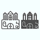 Castle line and solid icon. Big magic tower with door and ghost. Halloween vector design concept, outline style pictogram on white background, use for web and app. Eps 10