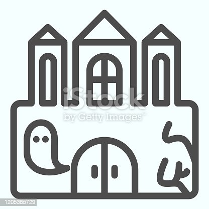 istock Castle line icon. Big magic tower with door and ghost. Halloween vector design concept, outline style pictogram on white background, use for web and app. Eps 10. 1205385729