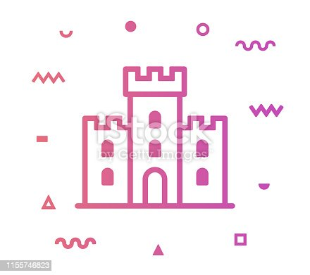 Castle outline style icon design with decorations and gradient color. Line vector icon illustration for modern infographics, mobile designs and web banners.
