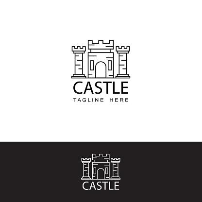 castle logo icon template design vector