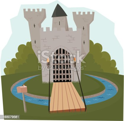 A cute little castle nestles on a small hill surrounded by a moat. The drawbridge is down and there is a mailbox next to it.