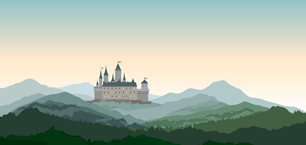 Castle Mountains Landscape. Travel Rural nature european background. Castle building on the hill skyline.