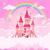 istock Castle of princess. Fantasy flying palace in pink magic clouds. Fairytale royal medieval heaven palace. Cartoon vector illustration 1139520257