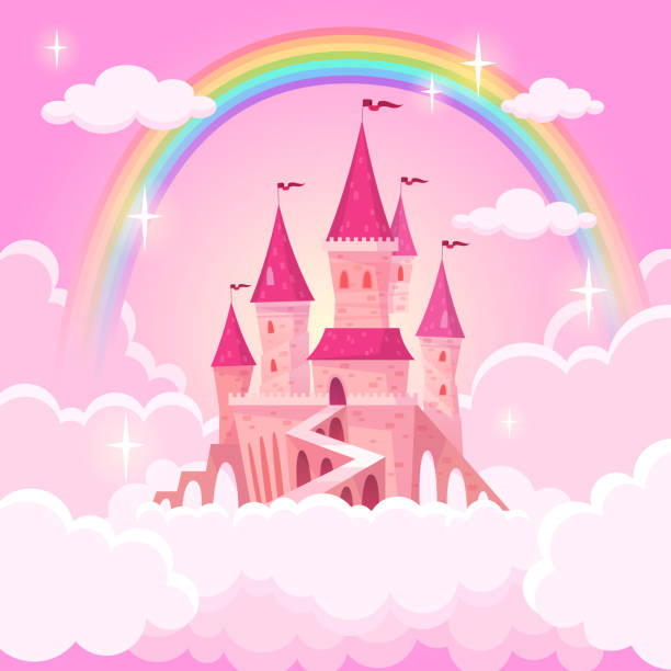 ilustrações de stock, clip art, desenhos animados e ícones de castle of princess. fantasy flying palace in pink magic clouds. fairytale royal medieval heaven palace. cartoon vector illustration - castle