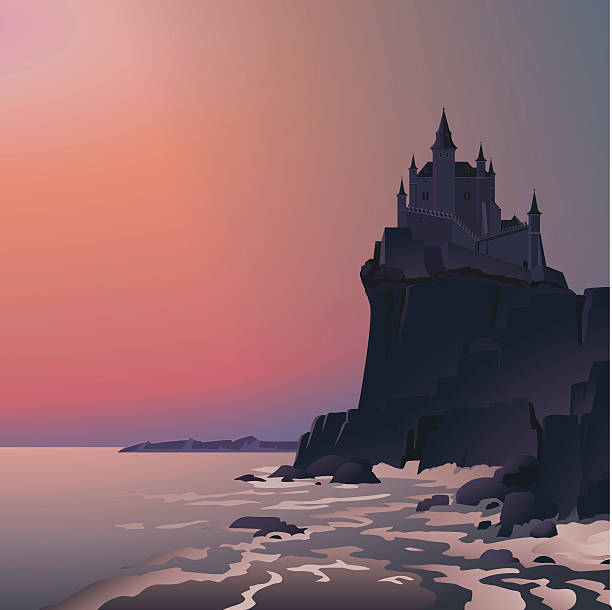 Castle on the cliff in last rays of setting sun Vector illustration of the single castle on the cliff with big waves and red sunset in the background. Empty space leaves room for design elements or text. Cartoon style. Postcard. Poster. Background. cliff stock illustrations
