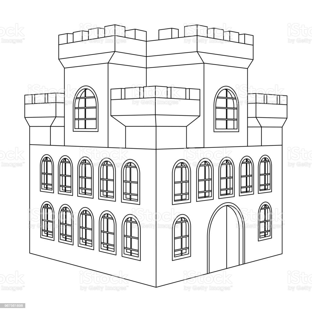 Castle Outline Drawing Of A Building With Multiple Windows Royalty Free