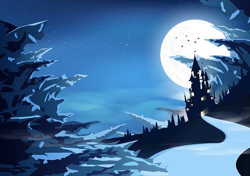 氷った山北極の風景シルエット ファンタジー抽象的な背景ベクトル イラストの神秘的な城宮殿 いっぱいになるのベクターアート素材や画像を多数ご用意 Istock