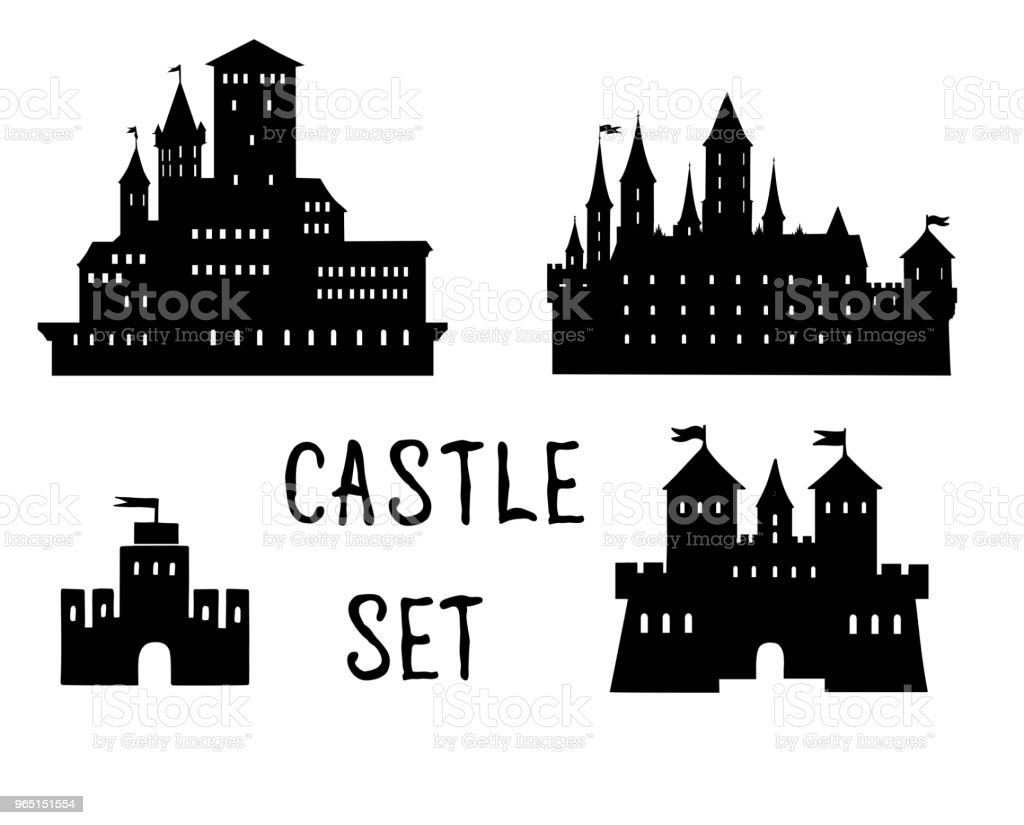 Castle set. Ancient castle building silhouette collection. royalty-free castle set ancient castle building silhouette collection stock vector art & more images of ancient