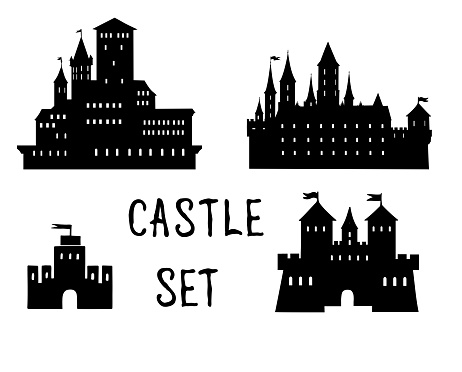 Castle set. Ancient castle building silhouette collection.
