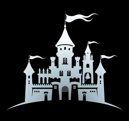 Castle silver silhouette standing on the hill. Abstract fairy tale fortress on black background