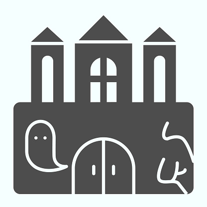 Castle solid icon. Big magic tower with door and ghost. Halloween vector design concept, glyph style pictogram on white background, use for web and app. Eps 10.