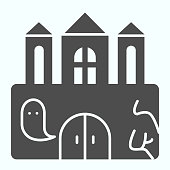 istock Castle solid icon. Big magic tower with door and ghost. Halloween vector design concept, glyph style pictogram on white background, use for web and app. Eps 10. 1205385732