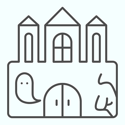 Castle thin line icon. Big magic tower with door and ghost. Halloween vector design concept, outline style pictogram on white background, use for web and app. Eps 10.