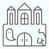 istock Castle thin line icon. Big magic tower with door and ghost. Halloween vector design concept, outline style pictogram on white background, use for web and app. Eps 10. 1205385735
