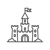 Castle tower icon. Medieval castle with fortified wall and towers