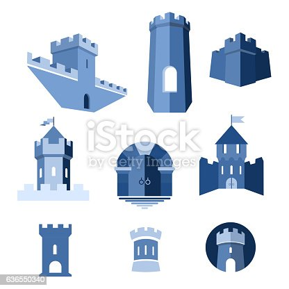 istock Castle tower, kingdom fortress and castle gate 636550340