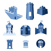 Castle tower, kingdom fortress and castle gate