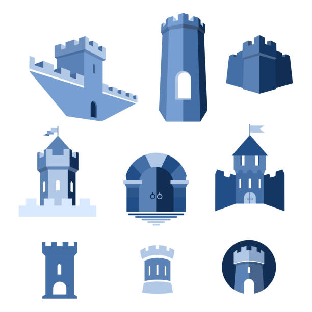 castle tower, kingdom fortress and castle gate - castle stock illustrations