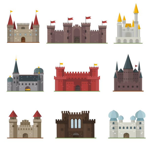 castle tower vector building - geistergeschichten stock-grafiken, -clipart, -cartoons und -symbole