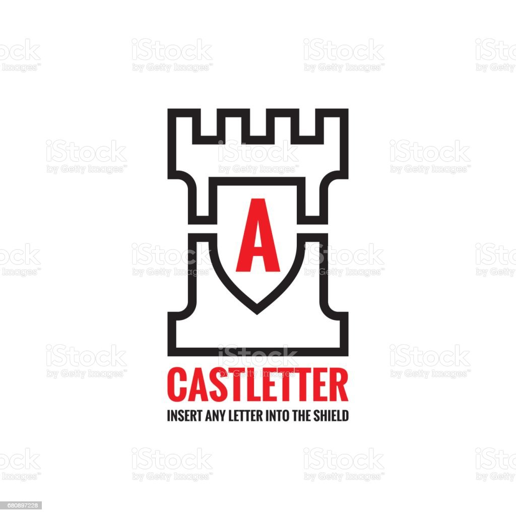 Castle tower - vector sign concept illustration. Creative sign template for any letter and title. Protection shield symbol. Design element. royalty-free castle tower vector sign concept illustration creative sign template for any letter and title protection shield symbol design element stock vector art & more images of abstract