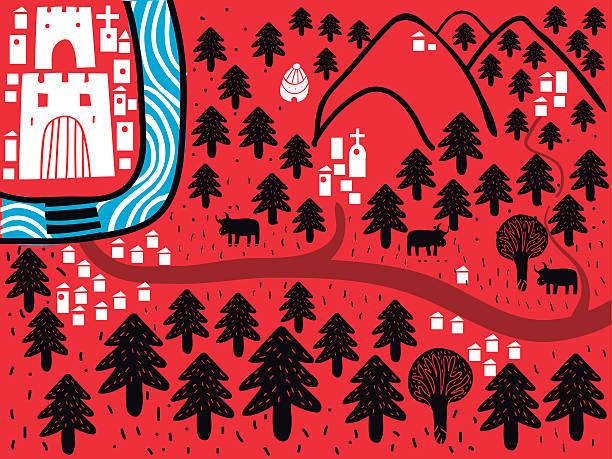 城タウンとパス - 森林 俯瞰点のイラスト素材/クリップアート素材/マンガ素材/アイコン素材