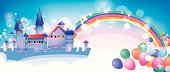 Cartoon fairy tale castle,Layer Mask And Layer using a transparent effect .EPS10.0