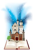 vector illustration of a castle out of a tales book