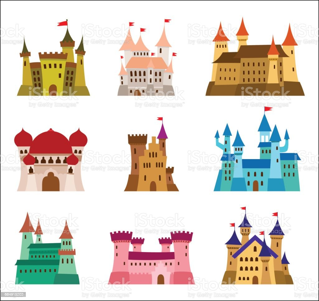 Castles and fortresses flat design vector icons. Set of illustrations of ruins, mansions, palaces, villas and other medieval buildings vector art illustration