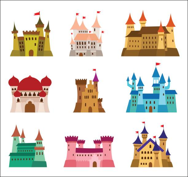 castles and fortresses flat design vector icons. set of illustrations of ruins, mansions, palaces, villas and other medieval buildings - castle stock illustrations