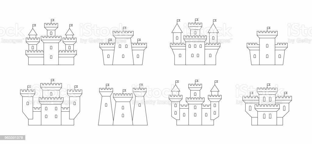 zamki i fortece ikony zestaw - Grafika wektorowa royalty-free (Bez ludzi)