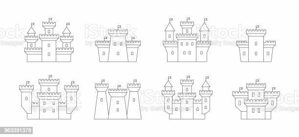 Zamki I Fortece Ikony Zestaw - Stockowe grafiki wektorowe i więcej obrazów Bez ludzi