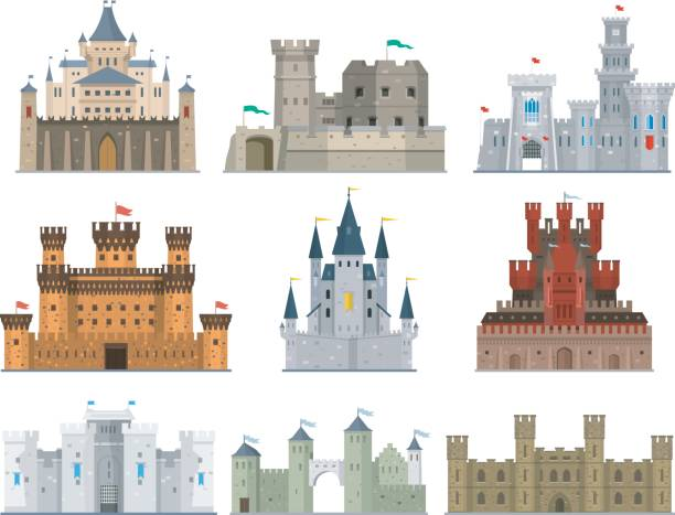 castles and fortresses vector icon set - castle stock illustrations