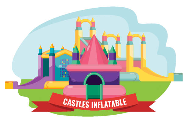 Castles inflatable set for summer rest isolated on white vector art illustration
