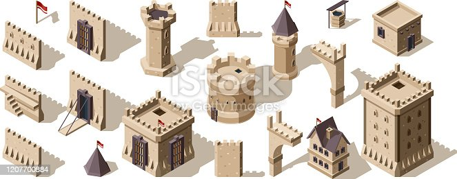 Castles isometric. Medieval buildings brick wall for low poly game asset old fort vector set. Architecture castle, old ancient building medieval.