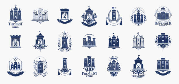 Castles logos big vector set, vintage heraldic fortresses emblems collection, classic style heraldry design elements, ancient forts and citadels. Castles logos big vector set, vintage heraldic fortresses emblems collection, classic style heraldry design elements, ancient forts and citadels. castle stock illustrations