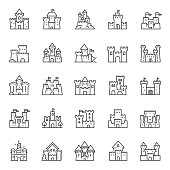 Castles of different shapes, icon set. Castle, linear icons. Line with editable stroke