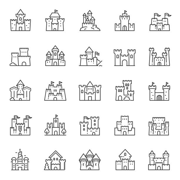 ilustrações de stock, clip art, desenhos animados e ícones de castles of different shapes, icon set. castle, linear icons. editable stroke - castle