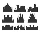 Castles silhouettes set. Building of the medieval period, with thick walls, battlements, towers. Vector flat style cartoon illustration isolated on white background