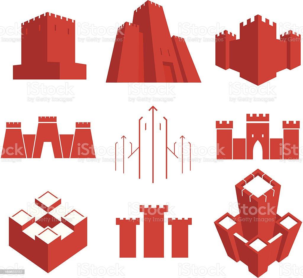 castles vector art illustration