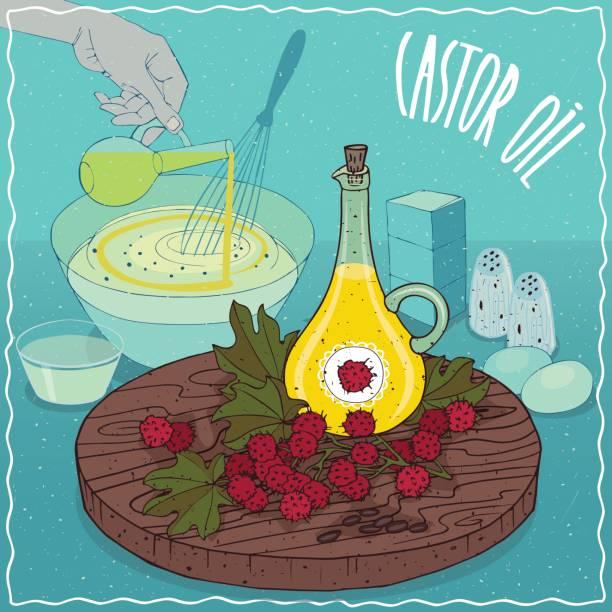 castor öl zum kochen verwendet - wunderbaum stock-grafiken, -clipart, -cartoons und -symbole