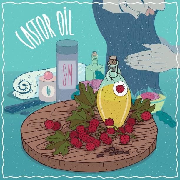rizinusöl verwendet für die haarpflege - wunderbaum stock-grafiken, -clipart, -cartoons und -symbole