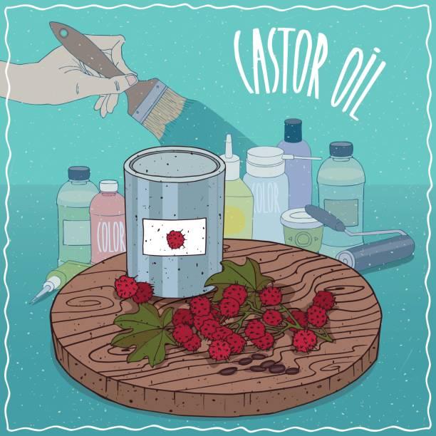 rizinusöl für farbe-herstellung verwendet - wunderbaum stock-grafiken, -clipart, -cartoons und -symbole